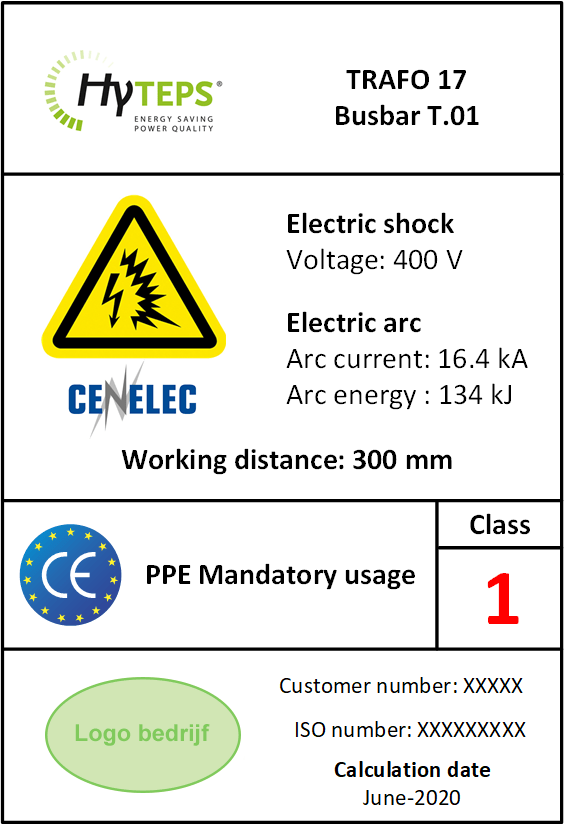 Mandatory PPE sticker for electrical cabinets